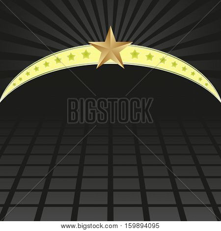 black background with neon and stars - vector illustration