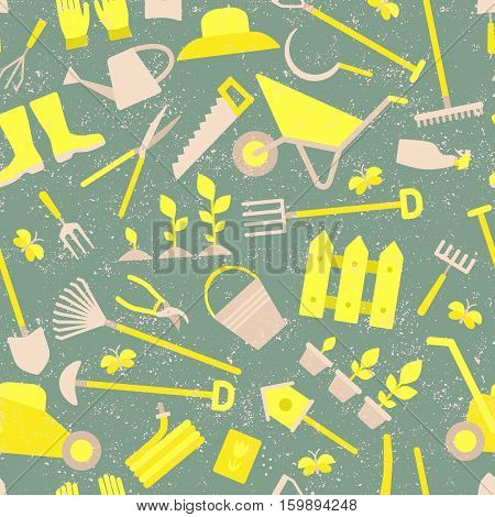 Vector gardening set, seamless pattern and background.