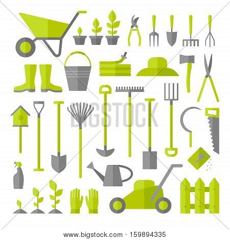 Vector big collection of gardening tools isolated on white background. Rack pitchfork hose wheelbarrow watering can cutter fork lawn pruner secateurs shovel spade and more.