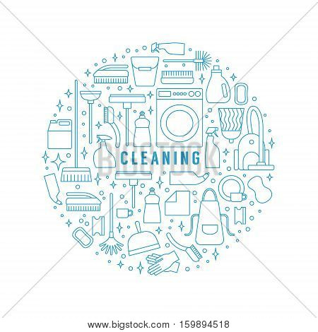 Vector trendy flat cleaning icon set. Template, concept or poster. Vacuum cleaner and protective gloves. Plunger, spray bottle and wipe. Squeegee, sponge and bucket. Mop and brush. Duster and many more.