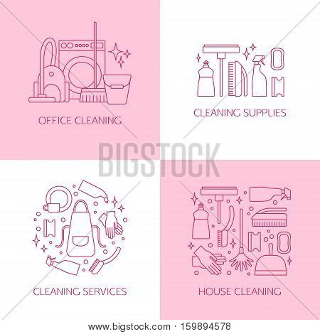 Vector trendy flat cleaning icon set, emblems and logos. Vacuum cleaner and protective gloves. Plunger and spray bottle. Wipe, squeegee and sponge. Bucket, mop and brush. Duster and many more.
