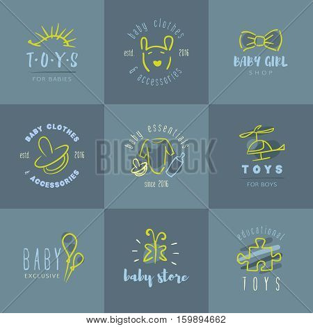 Vector trendy hand drawn cute baby, infant logo collection.