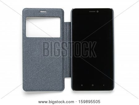 Smart phone in a protective case with a window isolated on a white background