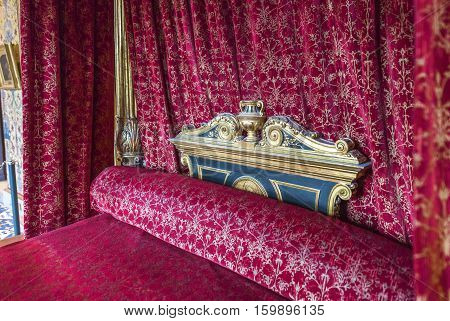 BLOIS,FRANCE-JUNE 2016: In the King's chamber in Blois castle in Loire valley