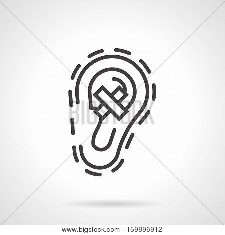 Negative hearing test. Human ear with crossed sign. Symbol of hear loss and deafness. Effects of noise pollution, smoking, unhealthy lifestyle. Black simple line style design vector icon.