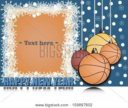 Frame of snowflakes and Christmas decorations in the form of basketball. Happy new year with reflection. Vector illustration