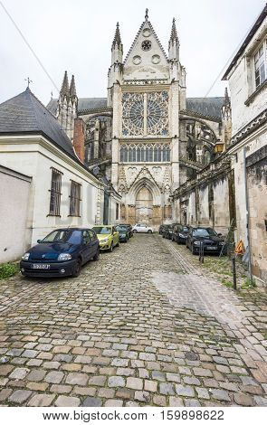 Tours, France - June 2016: at the narrow streets of Tours town