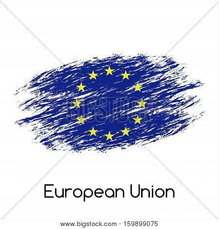 Simple vector European Union flag (EU) grunge flag vector illustration isolated on white background