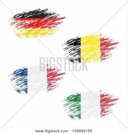 The Belgian German French and Italian flag in apperance streaks set grunge flags vector illustration