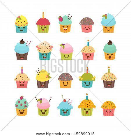 Set Of Cupcakes And Muffins. Cute Cartoon Characters, Emoji. Birthday Icons Of Desserts. Kawaii Cupc