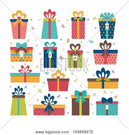 Set Of Different Gift Boxes. Flat Design. Birthday Surprise. Christmas Presents. Colorful Wrapped Gi