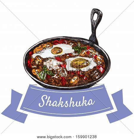 Shaksuka colorful illustration. Vector illustration of israeli cuisine.