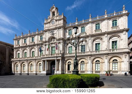 CATANIA ITALY - AUGUST 17 2016: The Palazzo dell'Universita in Catania Sicily Italy held the first four faculties of the University of Catania since 1690s.