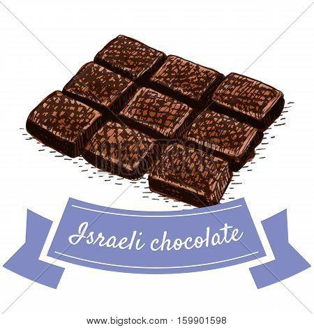 Israeli chocolate colorful illustration. Vector illustration of israeli cuisine.