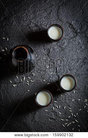 Strong Sake In Asian Restaurant On Black Rock