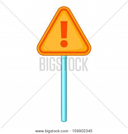 Hazard warning attention sign with exclamation mark icon. Cartoon illustration of warning attention sign vector icon for web design
