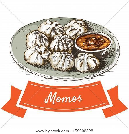 Momos colorful illustration. Vector illustration of Indian cuisine.