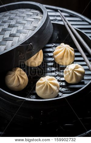 Yummy And Hot Manti Dumplings In Bamboo Steamer