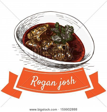 Rogan josh colorful illustration. Vector illustration of Indian cuisine.