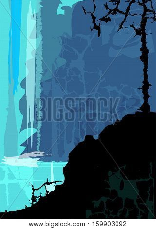Stylized waterfall with silhouetted rock and a tree in the foreground. Eps10