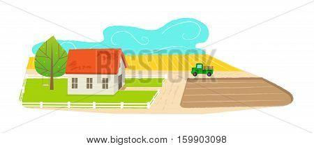 Cute cartoon farmhouse with a farmland view. Eps10