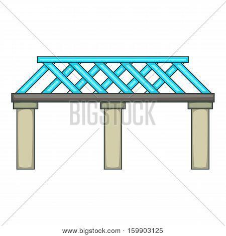 Railroad bridge icon. Cartoon illustration of bridge vector icon for web design