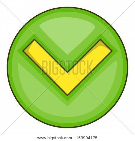 Green tick, check mark icon. Cartoon illustration of green tick, check mark vector icon for web
