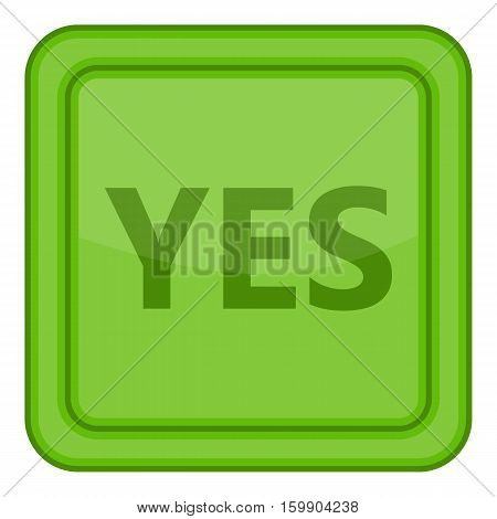 Yes green square button icon. Cartoon illustration of yes green square label vector icon for web