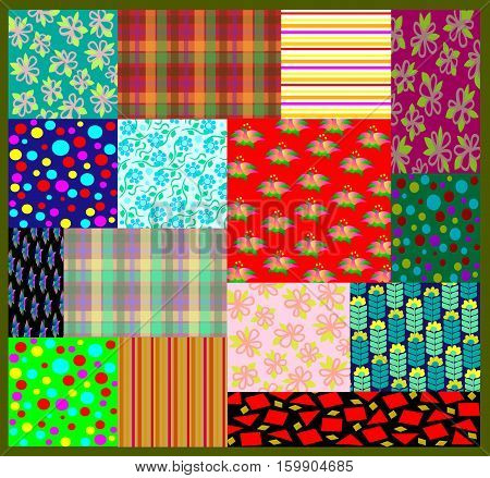 Coverlet from pieces of cloth with different patterns, vector image.