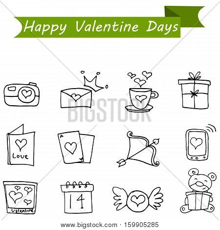 Collection stock of valentine icons vector art