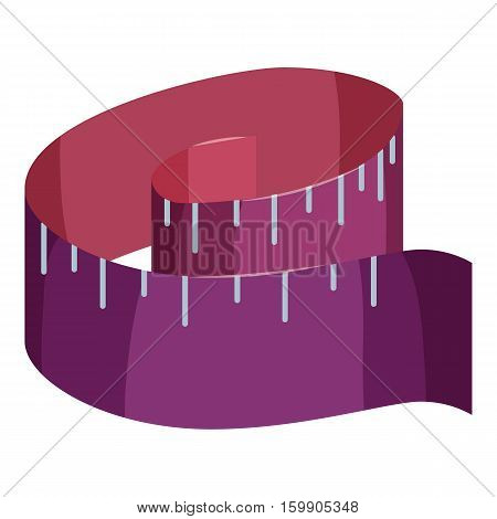 Purple measuring tape icon. Cartoon illustration of purple measuring tape vector icon for web