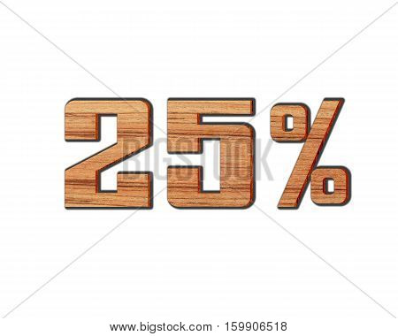 Discount 25 percent off 3D illustration on white background.( number in wood )