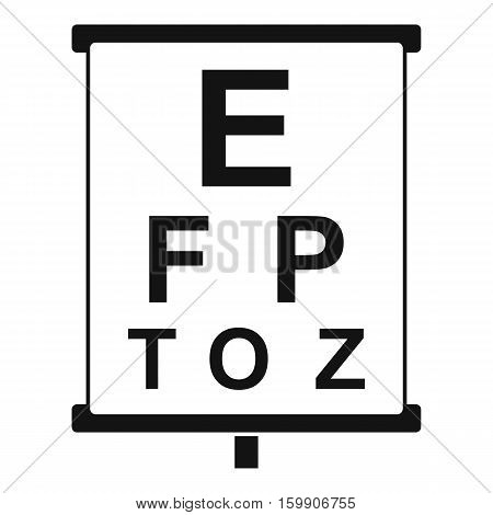 White placard with letters eyesight testing icon. Simple illustration of white placard with letters eyesight testing vector icon for web