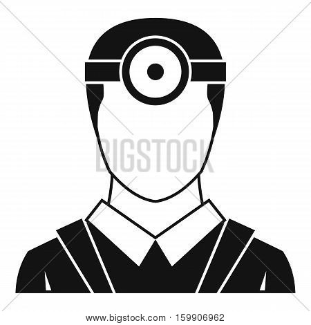 Ophthalmologist with head mirror icon. Simple illustration of ophthalmologist with head mirror vector icon for web