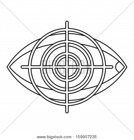 Human eye and target icon. Outline illustration of human eye and target vector icon for web