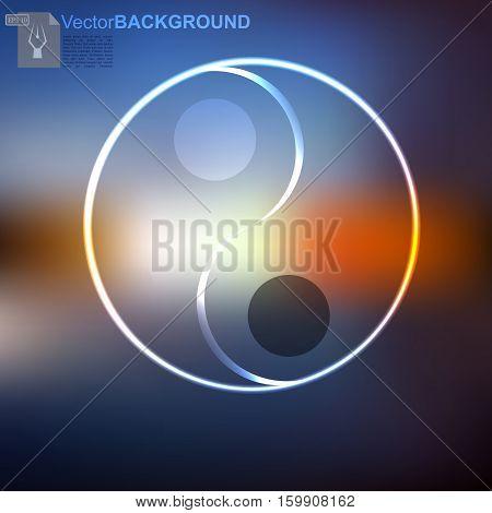 high quality original trendy vector Yin Yang symbol on mesh background