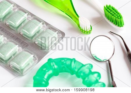 tools for oral care and prophylaxis o white background.