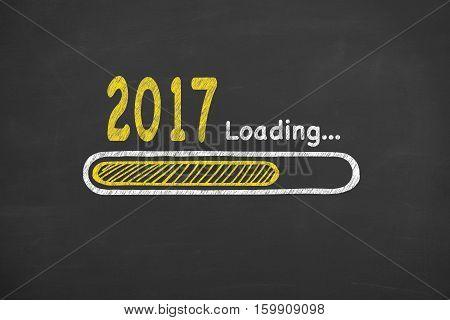 Innovation Loading New Year 2017 on Chalkboard