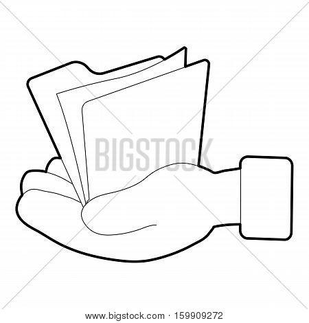 Hand holding file folder icon. Isometric 3d illustration of hand holding file folder vector icon for web