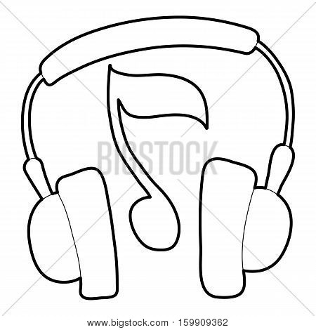 Earphones icon. Outline illustration of earphones vector icon for web