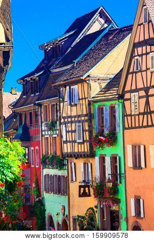 Most beautiful villages of France - colorful Riqewihr in Alsace
