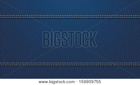 illustration of blue color denim texture background with two horizontal seams