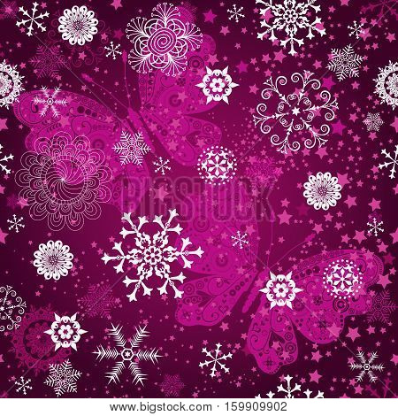 Seamless purple gradient pattern with snowflakes and vintage pink butterflies vector
