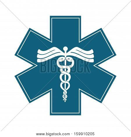 caduceus medical symbol icon overe white background. colorful design. vector illustration