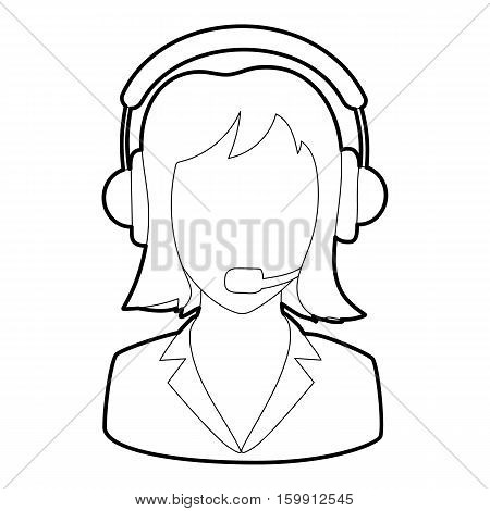 Woman operator icon. Outline illustration of woman operator vector icon for web