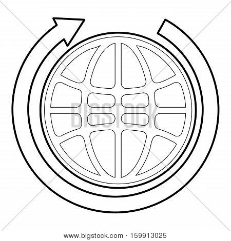 Earth icon. Outline illustration of earth vector icon for web