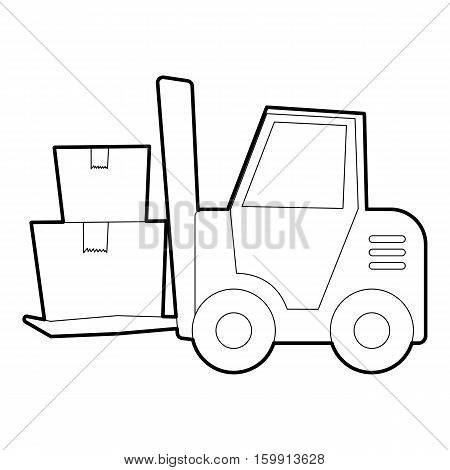 Forklift icon. Outline illustration of forklift vector icon for web