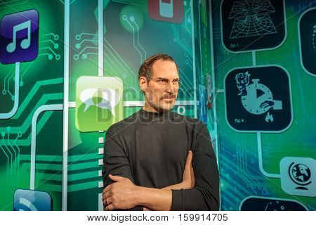 ISTANBUL, TURKEY - DECEMBER 3, 2016: Steve Jobs wax figure at Madame Tussauds wax museum in Istanbul. Steve Jobs was  the co-founder, chairman, and chief executive officer of Apple Inc.
