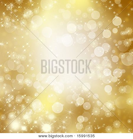 stars descending on golden background