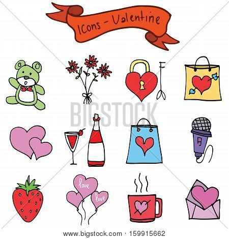 Vector of Valentine element collection stock illustration